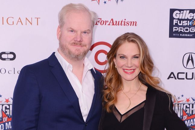 Photo of Jim Gaffigan and his wife, Jeannie Gaffigan.