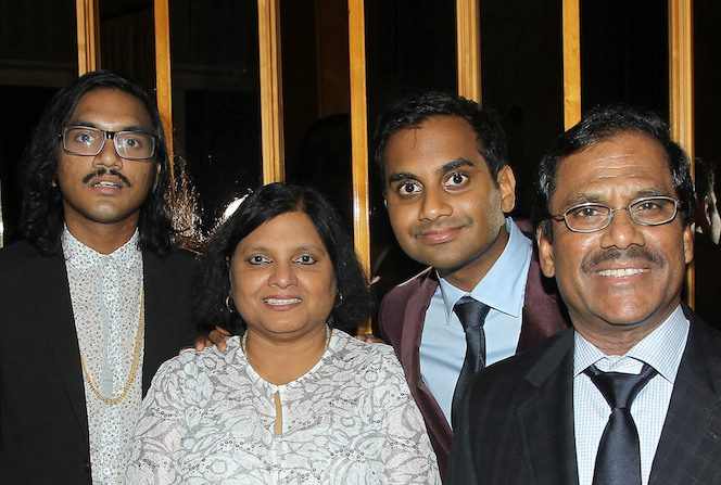Image of famous TV personality, Aziz Ansari and his family